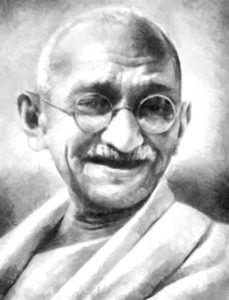 Pencil sketch of Gandhi, a man who stood for something