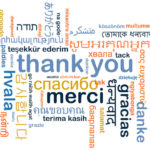 "word cloud with expressions of ""thank you."""