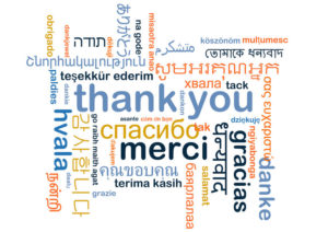 """word cloud of """"thank you"""" in many languages."""