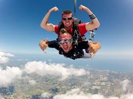 men sky-diving
