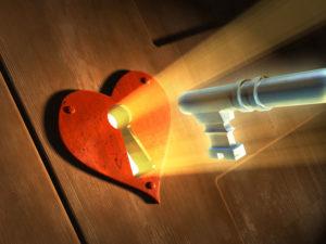 a key opening a heart
