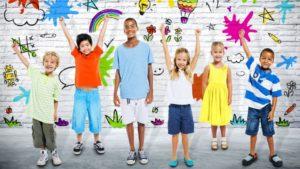 Kids raising hands in celebration