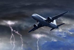 Passenger plane flying through turbulence
