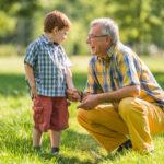 grandfather listening to Grandson