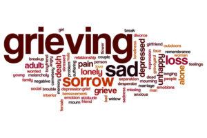 Grieving word cloud