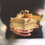 man offering gift