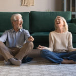 Couples practicing mindfulness at home